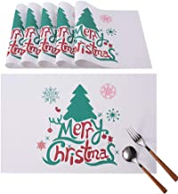 INNObeta Christmas Placemats Set of 6, Non-Slip Insulation Washable Heat-Resistant Table Decor Place Mats for Holidays, Ideal for Kitchen & Dinning Table and Party