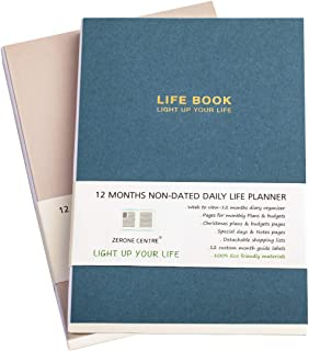 A5 Undated Daily Pocket Agenda Planning, Weekly Academic Calendar & Monthly Budget Planner, Appointment Book, Daily Organi...
