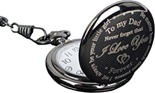 Dad Pocket Watch Engraved Pocket Watch for Men,Vintage Quartz Pocket Fob Watch Necklace Chain with Box Gift for Father Day/Birthday/Halloween/Thanksgiving/Anniversary!