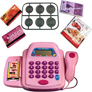 LilPals Pink Toy Cash Register Knob Operated Belt, Credit Cards, Money, Basket