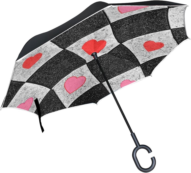 Double Layer Ingreened Diamonds Hearts Mosaic Pattern Texture Design Umbrellas Reverse Folding Umbrella Windproof Uv Predection Big Straight Umbrella for Car Rain Outdoor with CShaped Handle