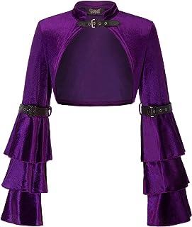 SCARLET DARKNESS Women's Bell Sleeve Steampunk Jacket Shrug Gothic Bolero Shrug