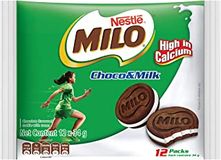Milo Biscuit Sandwich with Milk 34g, (Pack of 12)