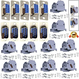 RS232 Parallel Serial Port DB9 9 Pin D Sub Male/Female Solder Connector + Plastic Shell Cover, Pack of 10, By Ltvystore