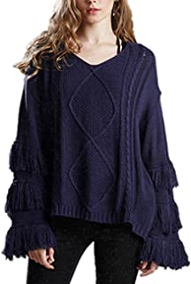 SERAPHY Women Soft Fringe Tassel Bell Sweater Knit V Neck Long Sleeve Pullover Boho Loose Kimono Cable Sweaters Jumper Tops