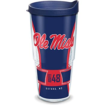 10oz Wavy Tervis 1251547 Ole Miss Rebels All Over Insulated Tumbler with Wrap and Navy Lid Clear
