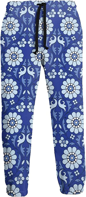 Active Sweats Jogger Pants Blue Flowers Pattern Running Joggers Casual Sweatpants for Men Women
