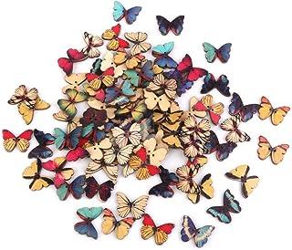 PIXNOR 100 peças 2 orifícios botão de madeira de borboleta para scrapbook faça-você-mesmo artesanato