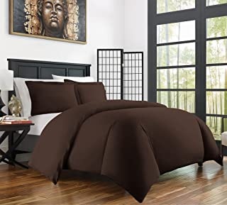 Zen Bamboo Ultra Soft 3-Piece Rayon Derived From Bamboo Duvet Cover Set -Hypoallergenic and Wrinkle Resistant - King/Cal King - Brown