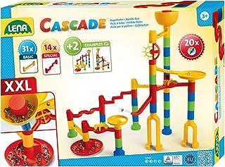 Lena 65296 – Cascade kulbana Super Twister, kulbana för montering, rullbana byggsats med 45 spårelement och 20 glasmurlar,...