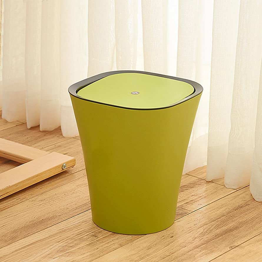 Bathroom Trash Can Green Plastic Flip Trash Can, Closed Style Living Room Bedroom Trash Can Living Room Accessories