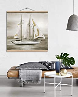 Large Boat Canvas Prints Wall Art for Home, 3D Hand Painted Coastal Ocean Landscape Picture, Modern Oil Paintings on Canvas for Living Room, Bedroom, Wooden Stretched Ready to Hang 32x32 inch