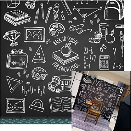 GoEoo 6x6ft Hand Drawing Blackboard Background Kids Child Students Back to School Graduation Photo Booth Backdrop Stack of Books on Teachers Desk Video Drapes Photo Studio Props