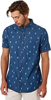 Academy Brand Men's Oahu Indigo Mens Ss Shirt Short Sleeve Cotton Blue