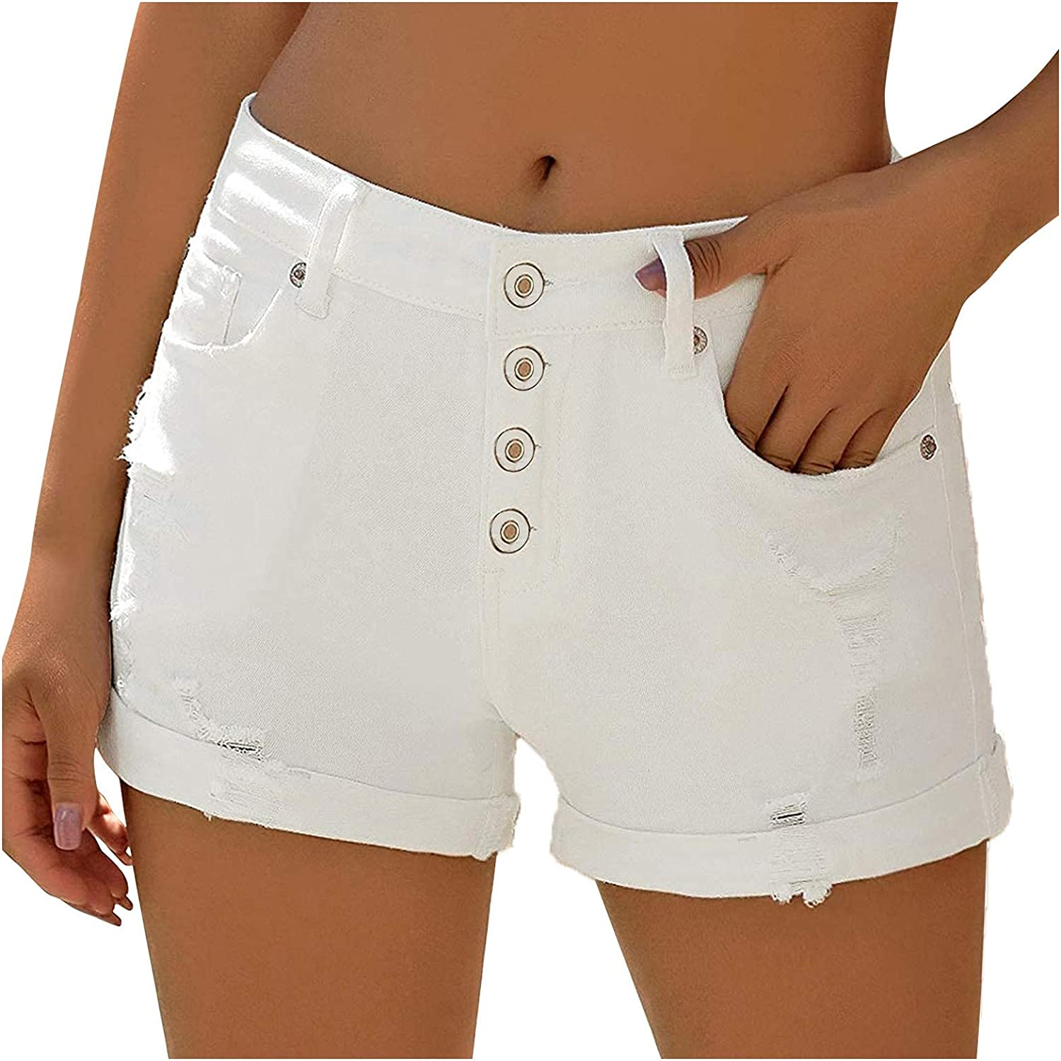 Denim Shorts for Women Distressed Ripped Shorts Jean Stretchy Frayed Raw Hem Button Hot Short Jeans with Pockets
