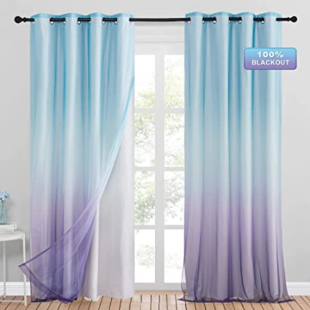 StangH Blackout Ombre Curtains for Kids Bedroom - Double Layer Curtains Blue and Purple Ombre Sheer Match with Full Shading Thermal Insulated Drapes for Living Room / Kids Room, W52 x L84, 2 Panels