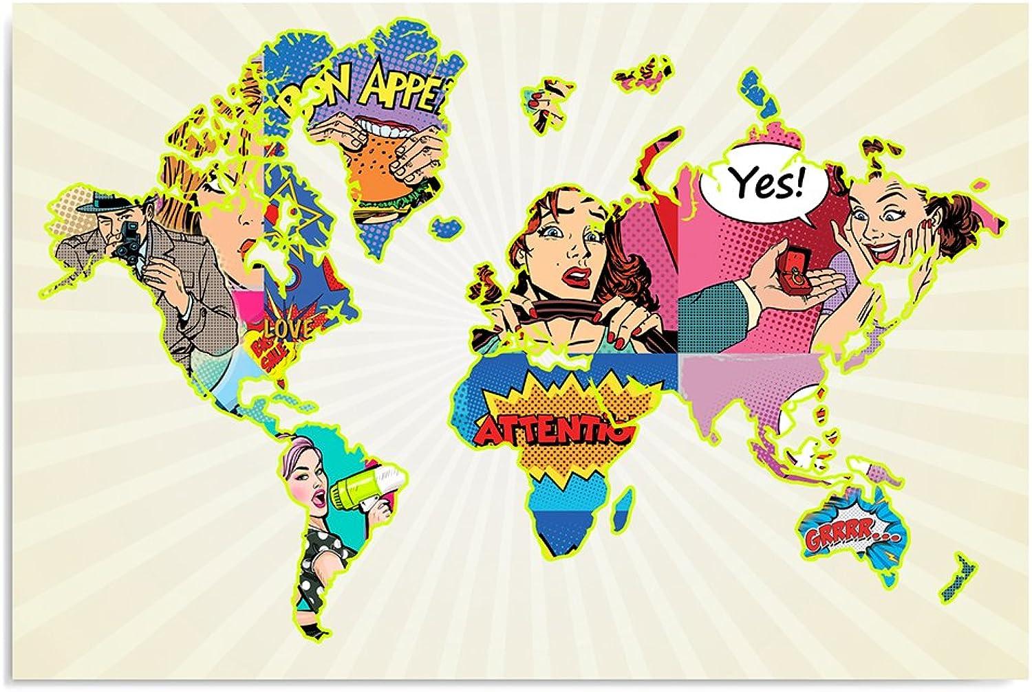 Feeby, Leinwandbild, Bilder, Wand Wand Wand Bild, Wandbilder, Kunstdruck 80x120cm, Weltkarte, POP-Art, WEIß, MEHRFARBEN B01MPVQO3C 538dd1