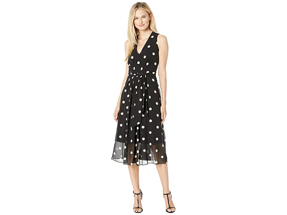 Anne Klein Printed GGT V-Neck Midi Dress (Anne Black/Anne White) Women's Dress