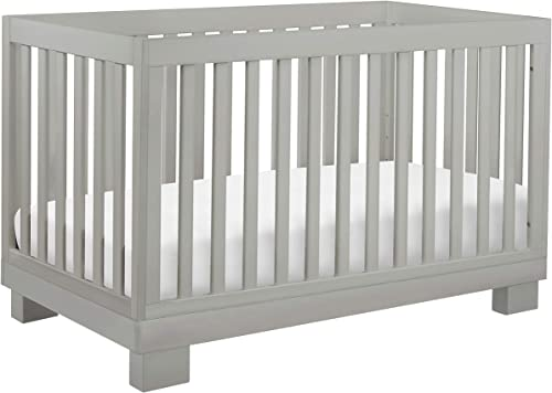 Babyletto Modo 3-in-1 Convertible Crib with Toddler Bed Conversion Kit in Grey, Greenguard Gold Certified