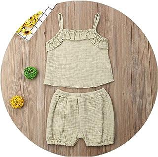 Juan 9 Faldas Niños Niñas Sin Mangas Sling Chaleco Tops + Pantalones Cortos Niños Algodón Lino Ropa Trajes