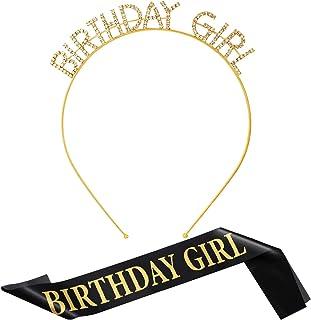 Fascia di Compleanno Tiara Corona di Strass da Ragazza e Sash di Compleanno di Raso per Festa Forniture