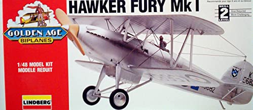 Lindberg Hawker Fury Mk1 Golden Age Biplane 1:48 Scale Kit