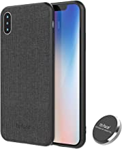 iPhone Xs Magnetic Case,Full-Edge Protection Shock Absorption and Built in Magnet Protective Hard Shell with Textured Fabric Case Slim Fit Shockproof Magnetic Back for iPhone Xs Case (2018) (Black)