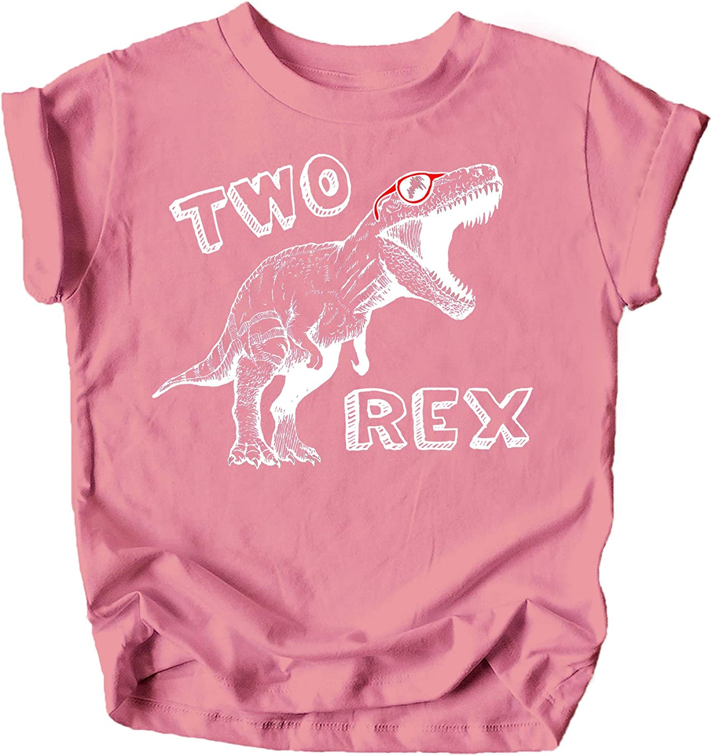 Olive Loves Apple Two Rex Dinosaur 2nd Birthday T-Shirts for Baby Girls and Boys Second Birthday Outfit