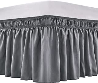 ARANA Bed Skirt Dark Gray Queen Size Wrap-Around Dust Ruffles, 15 inch Drop Elastic Easy-Install Bedskirt Wrinkle/Fade Res...