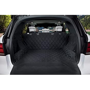 """AmorFA Car Boot Liner for Dogs Universal Waterproof Car Boot Cover with Nonslip Backing and Bumper Flap Protection, 80""""x 52"""",Pet Boot Liner Protector for Estate, Trucks, Hatchback, SUV (Long, Black)"""