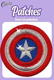 Iron On Patches - Captain America Silver Metallized Threads Iron On Patch Embroidered Applique The First Avenger Shield Marvel Superhero S-47
