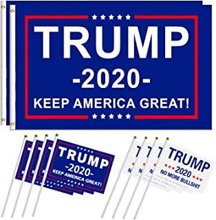 color mogu 2 Pack President Donald Trump Flag 2020 Grommets and 8 Pack Hand Held Trump Flag Donald Trump for President 2020