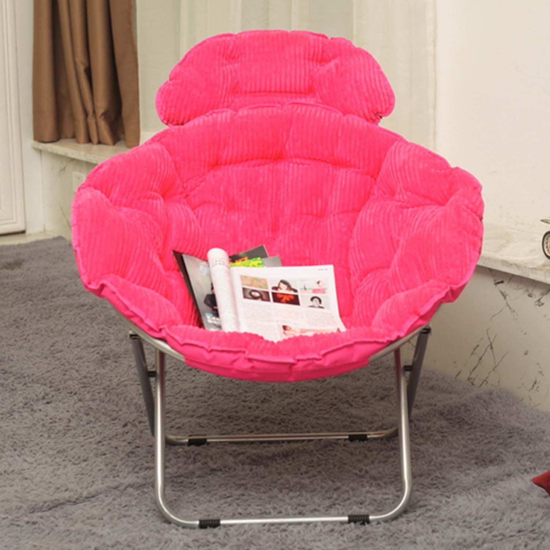 Mehrfarbig Farbe: Gr/ün Stuhl Gro/ßer Faltbarer Mondstuhl f/ür Erwachsene Sonnenstuhl Aufrechte Baumwolle Abnehmbares Lazy Sofa Runde Tragbare Liege