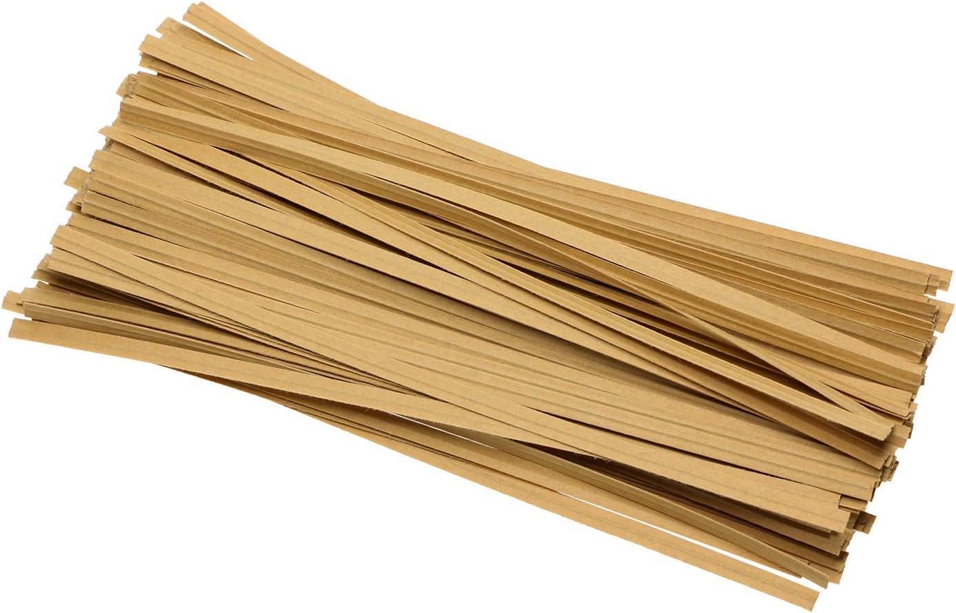 ONLYKXY 100 Pieces Kraft Paper Twist Ties, Paper Twist Ties, Bread Twist Ties, Candy Ties for Bags, 6 Inch (Kraft Paper)