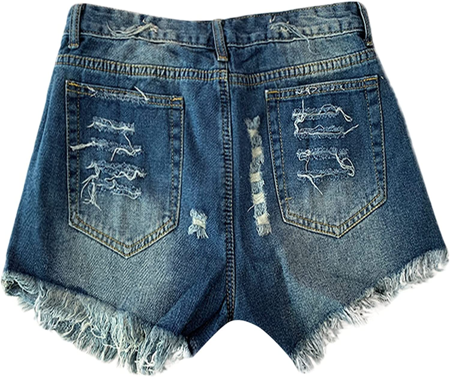 Women's Jean Shorts Distressed Ripped Denim Shorts Stretchy Frayed Hot Short Jeans with Pockets