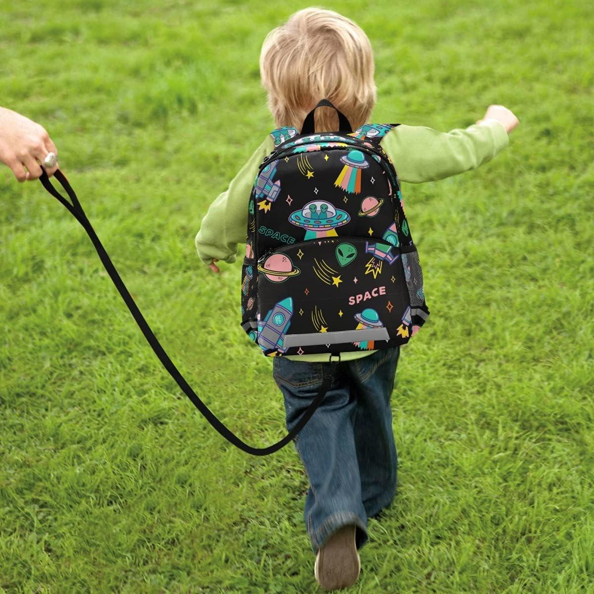OREZI Kid's Toddler Backpack for Boys Girls,UFO Aliens Spaceship Planet Preschool Bag Nursery Travel Bag Daycare Bag Kindergarten Children Bag with Safety Leash