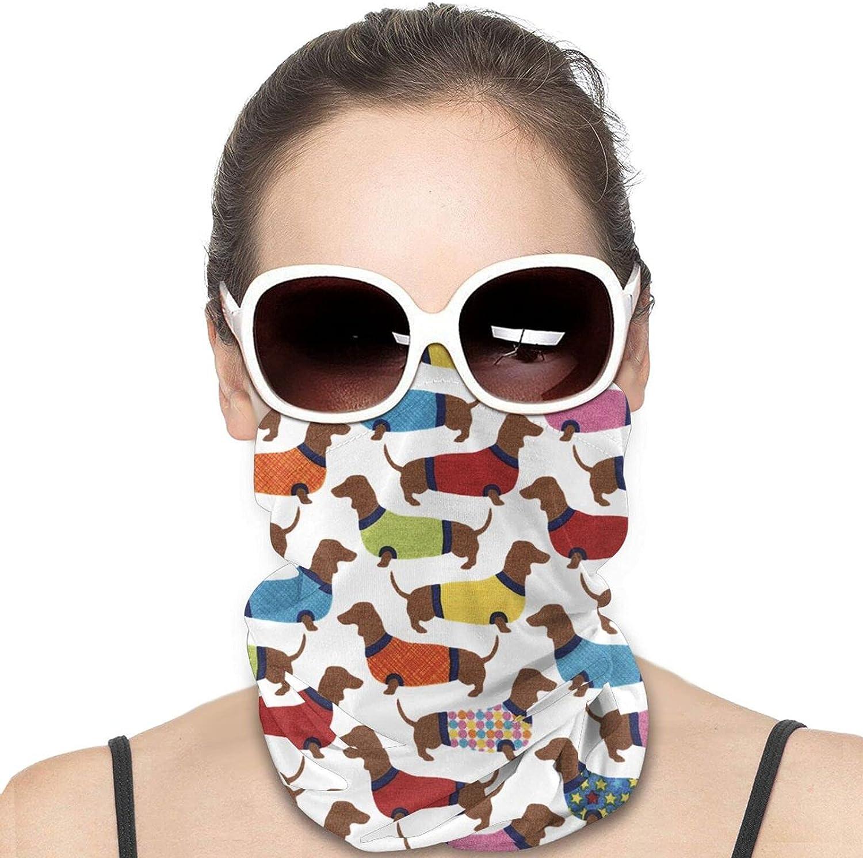 Cartoon Colorful Dachshund Neck Gaiter Windproof Face Cover Balaclava Outdoors Magic Scarf Headband for Men Women Motorcycling Fishing Running Climbing