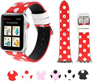PENKEY Sport Band for Apple Watch 38mm 42mm 40mm 44mm, iWatch Strap Replacement with Polka Dot Floral Print Leather Bracelet Wristband for Apple Watch Series 4, Series 3,2,1, Nike+, Hermes, Edition