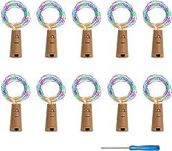 VIPMOON 10 Pack 20 LED/6.56 Feet Bottle Cork String Lights Wine Bottle Fairy Mini Copper Wire, Battery Operated Starry Lig...