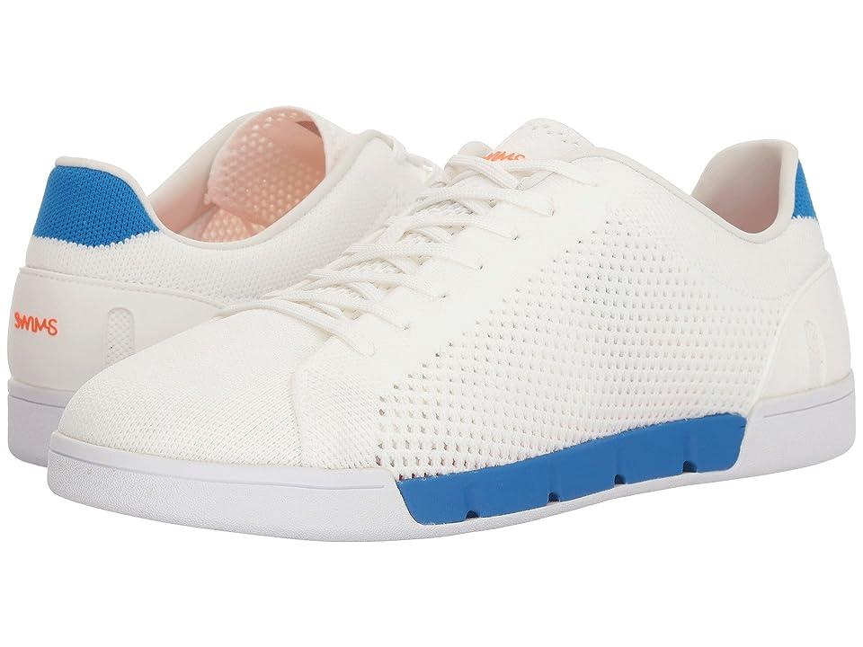 SWIMS Breeze Tennis Knit Sneakers (White/Blitz Blue) Men