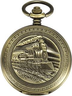 ManChDa Antique Mens Pocket Watch Skeleton Mechanical Bronze Case 3D Steam Train Railroad Ruman Numerals Gifts for Train Lovers (A.3D Steam Train Railroad)