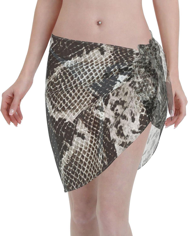Reindeer Horn Women Short Black Snake Skin Sarongs Cover Ups Beach Chiffon Sarong Bikini Swimwear