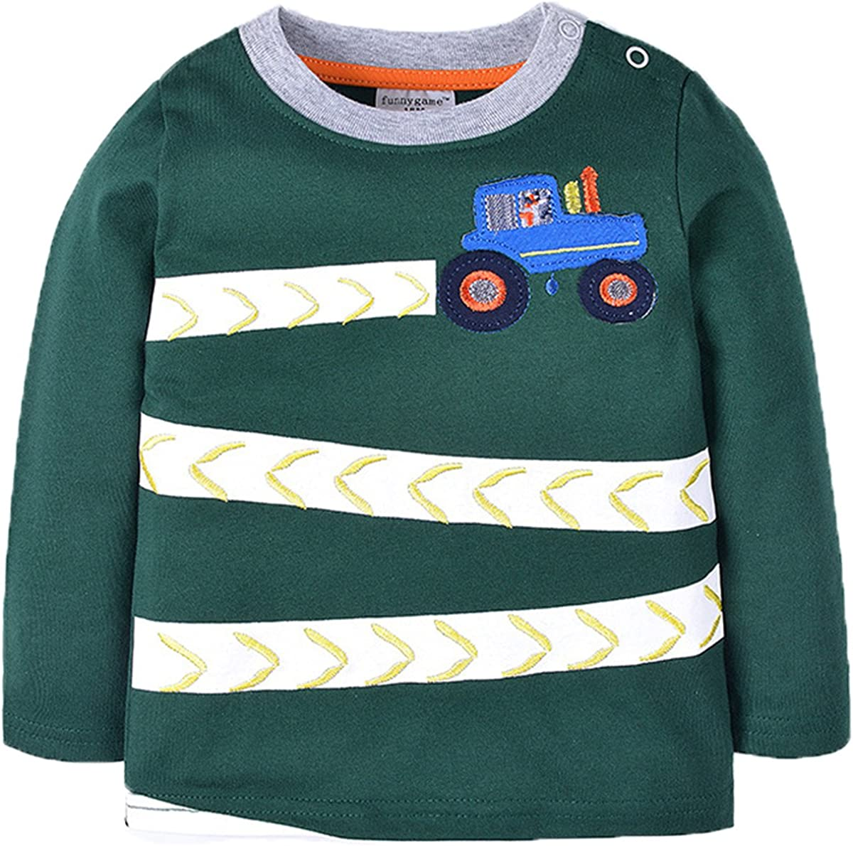REWANGOING 3 Pack of Baby Boys Girls Long Sleeve Cotton Crewneck Cartoon T-Shirt Tops Blouse