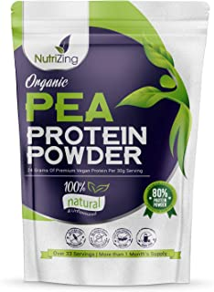 Proteína en Polvo Orgánica de Guisante sin Sabor NutriZing - 80% Proteína - Más de 30 raciones - Lo mejor para vegetariano...