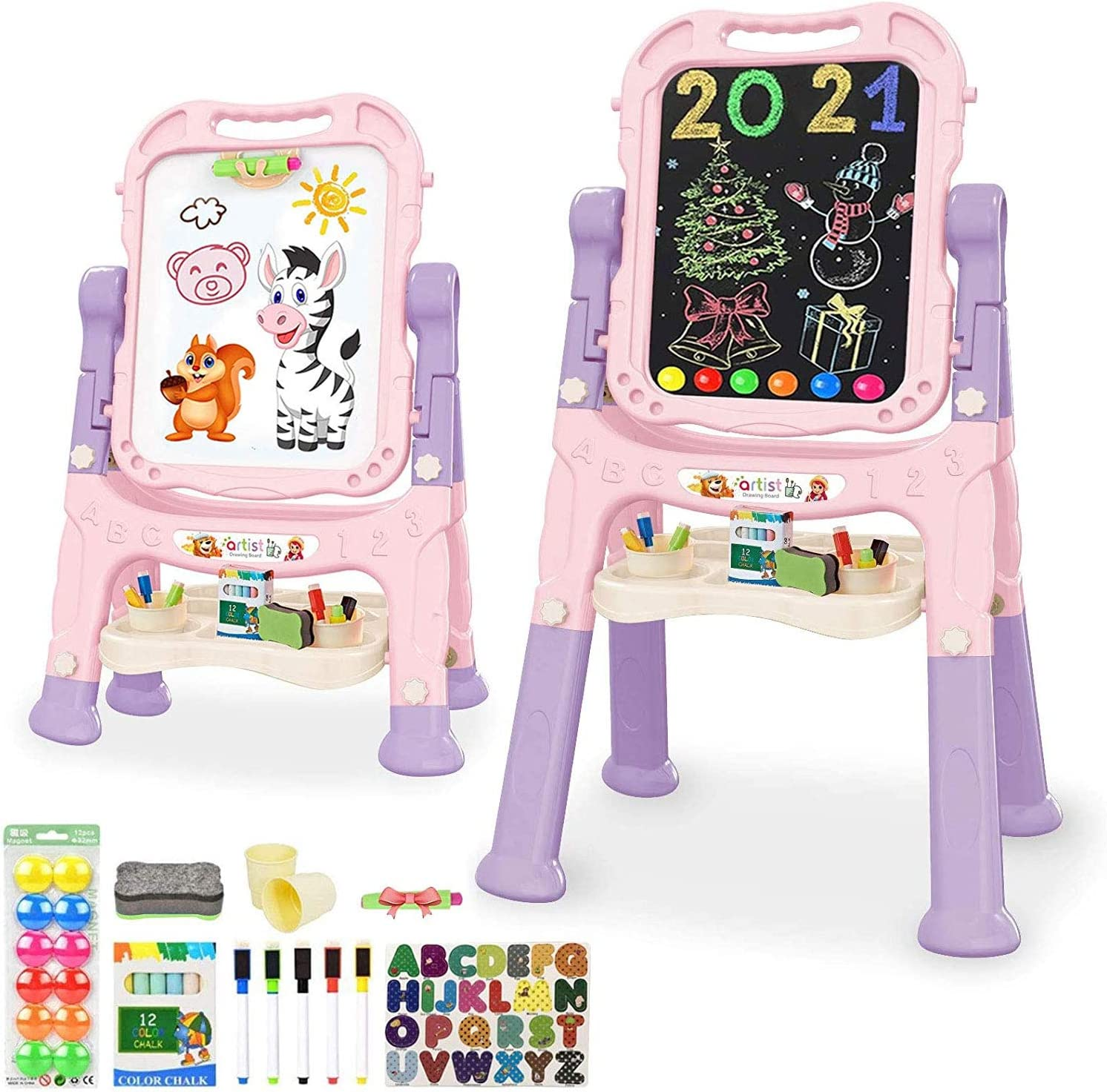 Mojitodon Easel for Over 3 Years Old Kids,Rotatable Double Sided