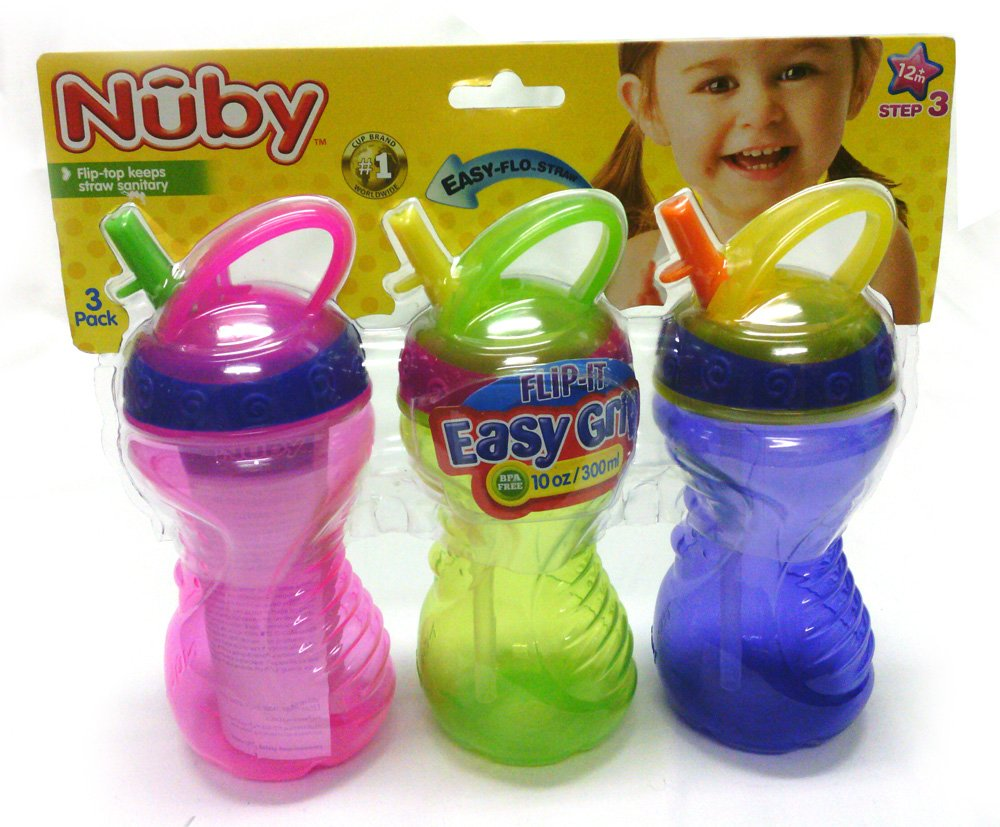 Nuby Flip-it Easy Grip Straw Cup - Pack of 3 10oz. Cups