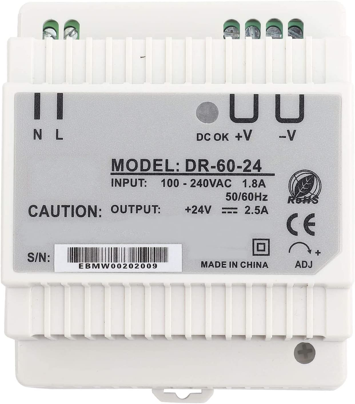 QiruIXinXi Din-Rail Power Supply, DR-60-24 Single Output Rail Mounting Power Supply, for LED Lighting, Industrial Control, Instrument, Textile, Car