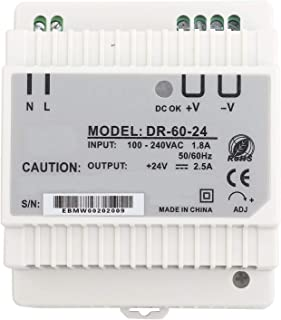 Switching Power Supply, Rail Mounting Power Supply AC/DC Single Output Din-Rail Power Supply, Anti-Interference 24V for Le...