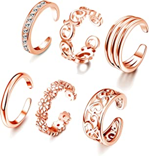 6PCS Adjustable Toe Ring for Women Girls Open Tail Ring Band Hawaiian Foot Jewelry