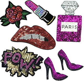 HIGH HEEL SHOE IRON OR SEW ON PATCH SEQUIN APPLIQUE CUSTOMISE SEQUINS